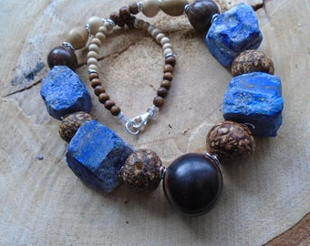 Lapis lazuli raw, seeds necklace, wood and silver / / nature jewelry