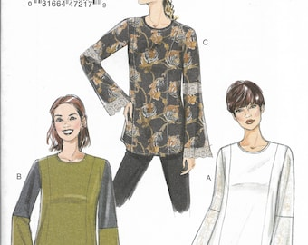 Very Easy Vogue Pattern V9270 Loose-Fitting, Princess Seamed Tunics with Trim & Contrast Fabric Variations, Curved Hem Misses' Sizes 6 - 12