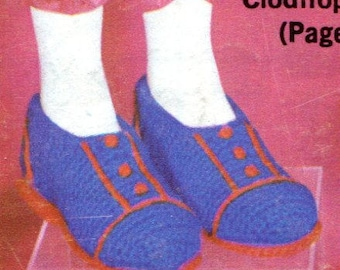 1960's Childrens Clodhoppers Shoes Crochet Instant Download PDF Pattern