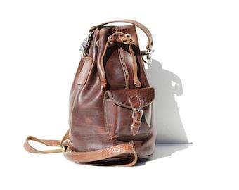 Vintage Thick Brown Leather Backpack   Bucket Bag