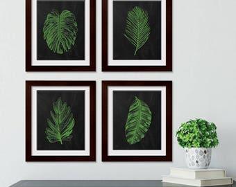 Industrial Island  Botanicals  (Series 4B) Set of 4 - Art Prints (Featured in Apple on Blackboard) Botanical Beach Art Prints