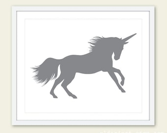 Unicorn Print - Gray Unicorn Art Print - Unicorn Wall Art - 8x10 - Unicorn Art - Nursery Decor - Aldari Art