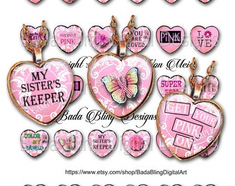 25mm hearts, Breast Cancer Awareness, original art digital collage sheets, INSTANT Digital Download at Checkout, Think PINK in October