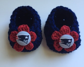 New England Patriots Baby Girl booties, baby booties, infant shoes, crochet baby booties, booties for baby, crochet baby shoes