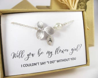 Personalized Ochid and Pearl bracelet, Monogram flower girl bracelet, Bridesmaid Proposal, Thank you for being my Flower Girl, Bridal Gift