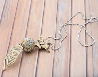 Military Inspired Gold and Silver Necklace