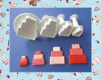 """Punch ejector: shape """"Cake, cake"""" - set of 4 different sizes."""