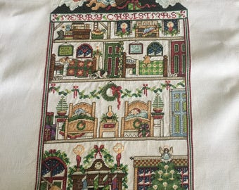 Merry Christmas completed cross stitch