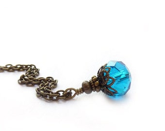 Teal Blue Necklace - Antique Inspired Pendant Necklace - London Blue - Glass Pendant - Bronze Chain - Handmade Necklace