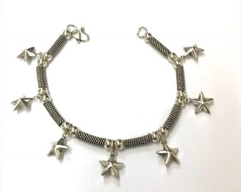 Sterling Silver Oxidised Stars Bracelet