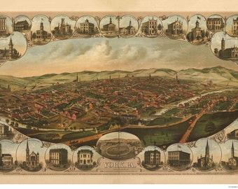 York Pennsylvania -1879 - Birds Eye View Reprint