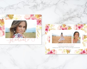 Printable Double Sided Watercolor Pink Floral Theme Photo Card Graduation Invitation or Announcement