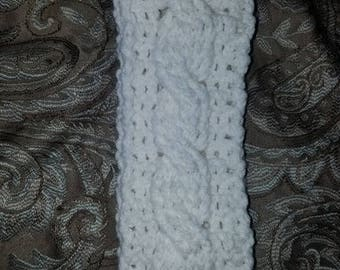 White cabled ear warmer