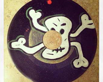 "The Dance- original painting on 7"" vinyl record."