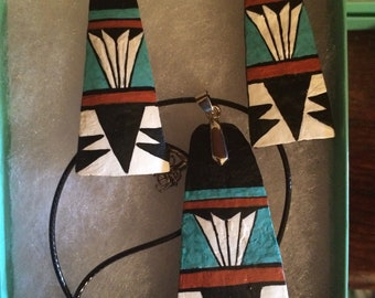 Santo Domingo inspired southwest gourd necklace and earring set