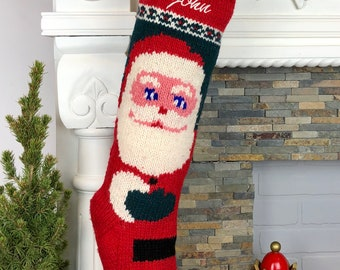 Personalized Knit Christmas Stocking / Kris Kringle Santa Claus Hand Knit Wool Christmas Stocking