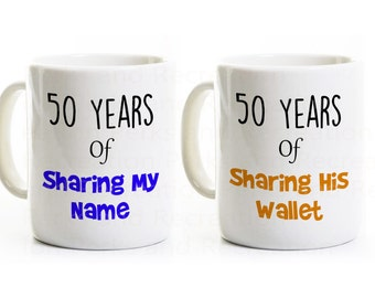 50th Wedding Anniversary Gift Coffee Mugs - Funny His and Hers Mugs - 50 Years Married - Golden Wedding Anniversary Mugs