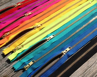 Metal zippers, 12 inch Gold teeth zippers, TEN pcs, lime, red, pink, fuchsia, peacock, blue, turquoise, yellow, orange, black, brass zips