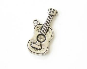 Antique silver guitar charm