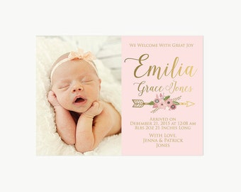 Birth Announcement Baby Girl Watercolor Floral Modern Pink - Girl birth announcements