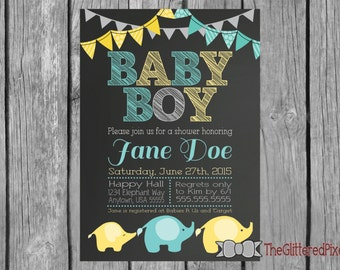 Printable Baby Shower Invitation / Elephant Baby Shower Invitation