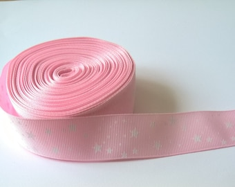 1 Yard Of Grosgrain Ribbon Pink With White Star Pattern