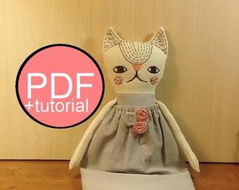 cat sewing pattern PDF DIY cat pattern tutorial  heirloom doll  stuffed cat pattern rag doll pattern fabric cat pattern cloth doll pattern