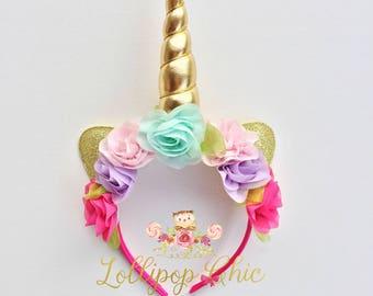 Multi and Gold Unicorn Headband