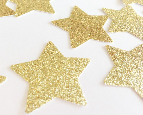 "100 Gold Glitter Star Confetti - 1 3/8"" - Wedding Table Confetti. Bridal Shower. Bachelorette Party. DIY Supplies. Twinkle Twinkle."