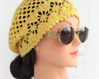 Summer crochet beret hat outfit Cotton crochet lace beanies hat for women Slouchy beret hats Net lacy hat for women