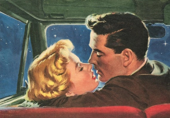 Items Similar To Fridge Magnet Couple Kissing In Car Romance Love At Night 1950s Style On Etsy
