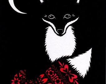 Fox In Moonlight - 8 x 10 inch Cut Paper Art Print