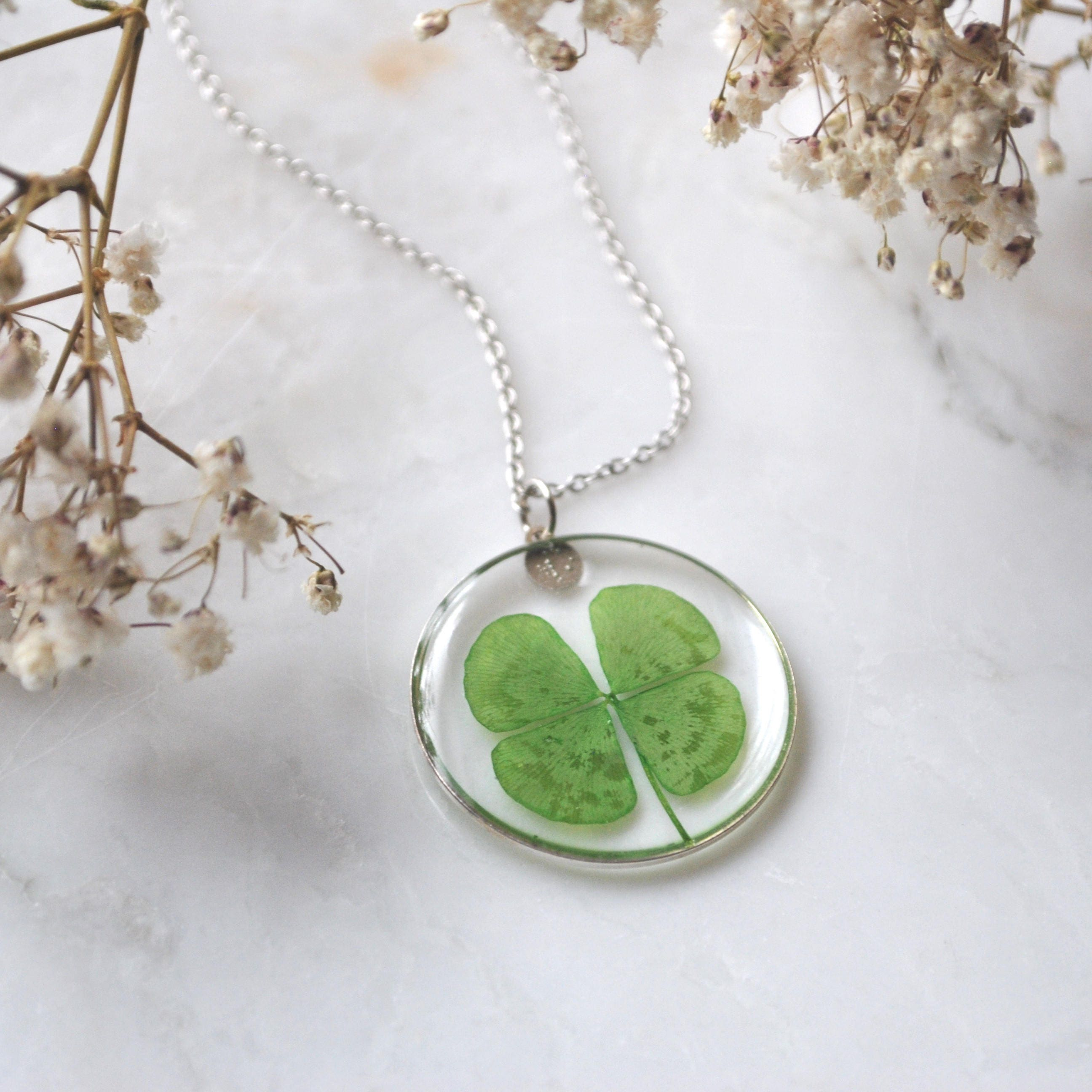 leaves clover pin necklace pendant leaf four and