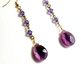 purple teardrop crystal amethyst crystal earrings hypoallergenic earrings nickel free earrings long dangle earrings drop beaded jewelry
