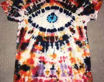 Handmade Eyeball Tie Dye Acid-Bleached Tee Shirt