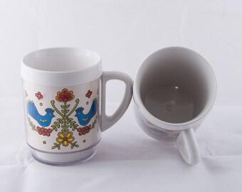 Vintage Scandinavian Design Thermal Mugs, 1960's Thermal Stacking Mugs