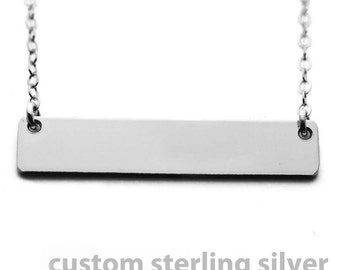 Custom Necklace - Sterling Silver Name Plate Necklace 1 1/4""