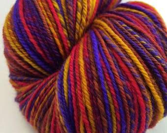 "Handspun Sock Yarn ""Sari Batik"" 450 yds SW merino nylon"