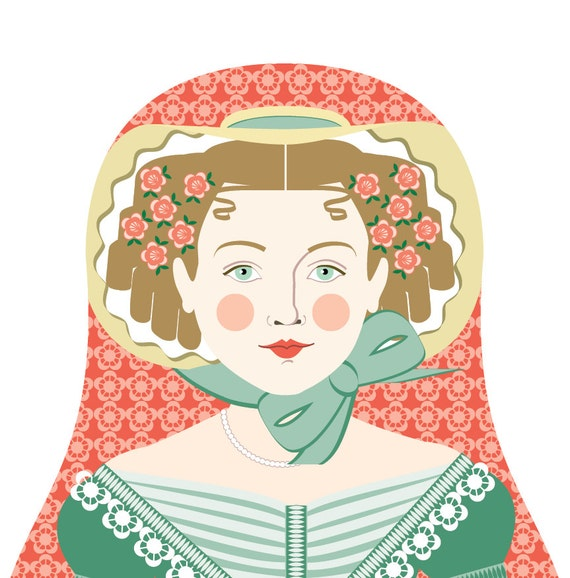 English Ivy Doll Art Print with traditional folk dress matryoshka