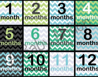 Square ChevronB - 021 - Baby boy square chevron month to month decals