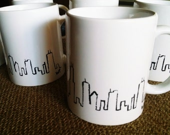 Hand Painted Chicago Skyline Mug