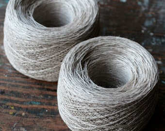 Linen yarn thread -- one ball - natural linen -- 2-ply