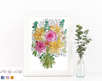 Illustration Bouquet Rose et Jaune