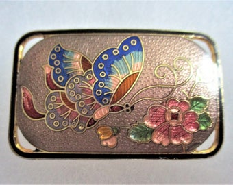 Cloisonne Scarf Slide Large Belt Buckle Butterfly Vintage Accessory Asian Jewelry Pink Red Lilac Blue Enamel Gold Scarf or Belt Clip