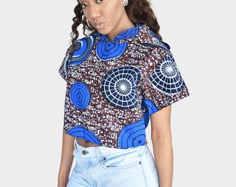 Mena Mode Hoodie in Ankara Fabric Crop Top
