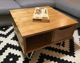 Low double trays oak drawer solid oak and white lacquered steel pins feet table