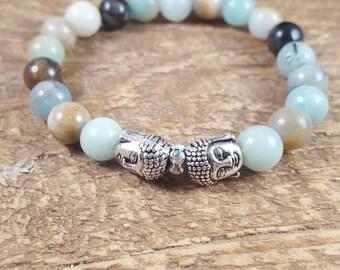 Mala Beads, Mala Bead Bracelet, Buddha Bracelet, Yoga Jewellery, Boho Bracelet, Amazonite Bracelet
