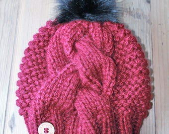 Cable Knit Beanie with Faux Fur Removable Pom Pom