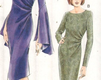 "Vogue 7762, Sz 6-10/Bust 30.5-32.5"". EASY Vogue Dress pattern, Side Ruched/Draped Sheath Dress w/ Sleeve options,Out-of-Print Misses pattern"