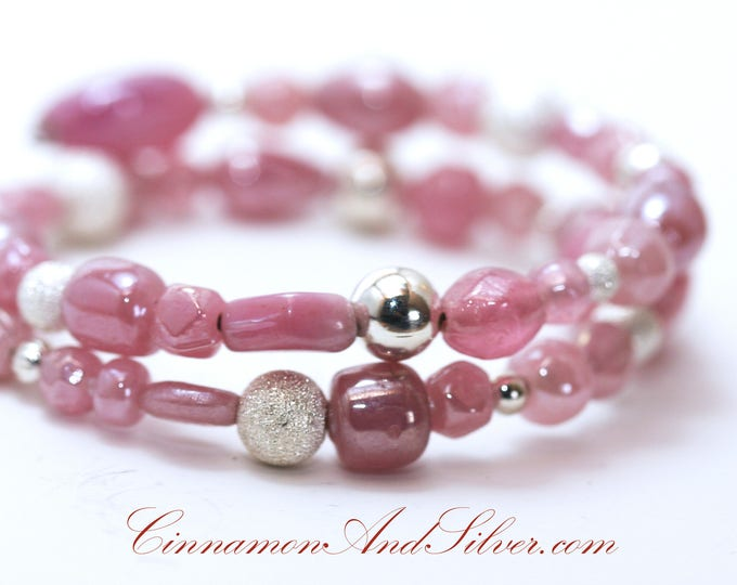 Easter Pink and Silver Beaded Coil Bracelet, Spring Pink and Silver Bangle Bracelet, Pretty in Pink and Silver Memory Wire Bracelet